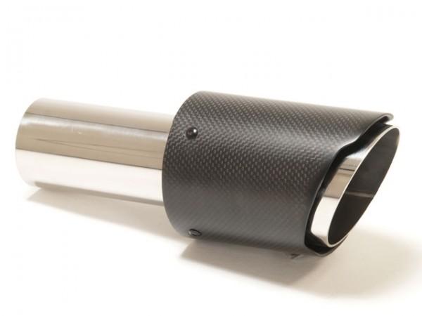 Endrohr 90mm rund Carbon scharf abgeschrägt